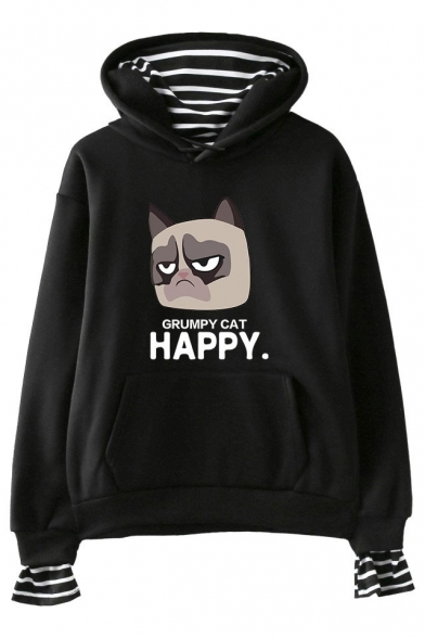 Cute Grumpy Cat HAPPY Letter Printed Striped Inside Long Sleeve Fake Two-Piece Hoodie, Black;pink;white;gray;navy, LM529765