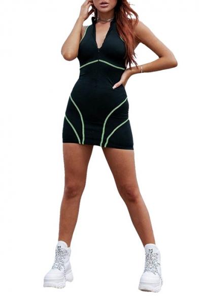 Fashion Contrast Piping Zipper Stand Collar Sleeveless Mini Black Bodycon Dress, LM535688