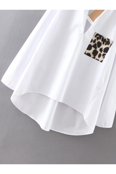Fashion Leopard Print Pocket Patched V-Neck Long Sleeve White High Low Shirt