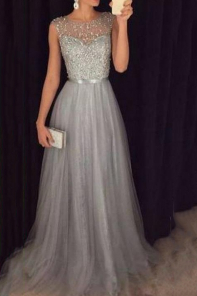 Fashion Round Neck Sleeveless Plain Sequined Detail Floor Length Chiffon A-Line Sliver Dress