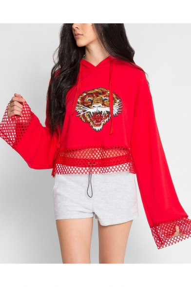 Fashion Sequined Tiger Embroidery Mesh Grid Panel Long Sleeve Casual Loose Hoodie