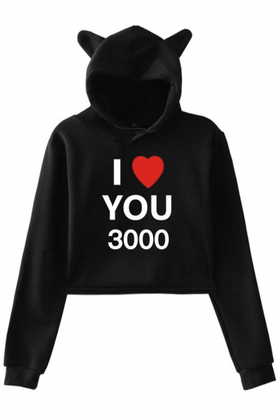 Father's Day Heart Letter I LOVE YOU 3000 Cute Cat Ear Design Crop Hoodie