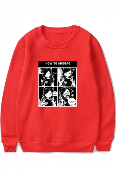Funny Comic Girl Letter HOW TO AHEGAO Pattern Round Neck Long Sleeve Pullover Sweatshirt