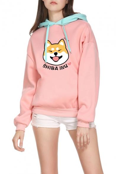 Funny Cute SHIBA INU Dog Printed Fashion Colorblocked Long Sleeve Pink Hoodie