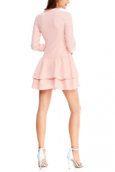 Girls Sweet Pink Simple Plain Bow-Tied V-Neck Long Sleeve Mini A-Line Ruffle Dress