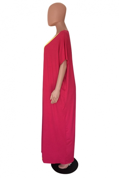 Hot Fashion V-Neck Short Sleeve Colorblock Printed Loose Maxi Oversize Rose Red Dress