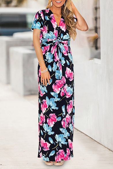 Hot Fashion V-Neck Short Sleeve Floral Printed Bow-Tied Waist Maxi Shift Dress