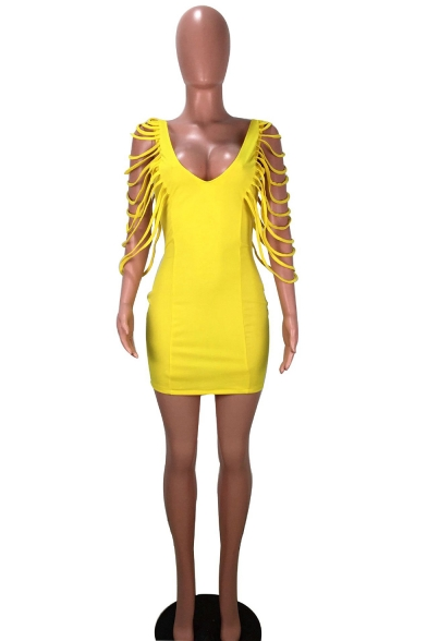 Hot Fashion Yellow Plunge Neck Cut Out Bandage Sleeve Open Back Plain Mini Bodycon Pencil Dress