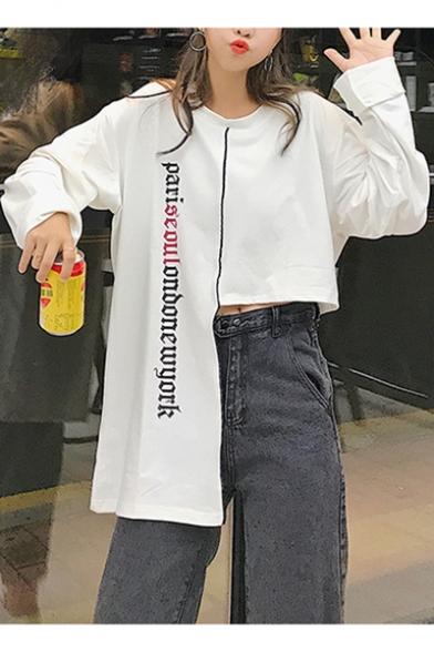 Round Neck Long Sleeve Letter Asymmetric Hem Sweatshirt