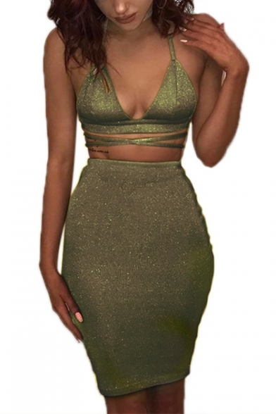 Hot Trendy Solid Color Halter Sexy V-Neck Sleeveless Cutout Waist Open Back Mini Bodycon Sequined Dress