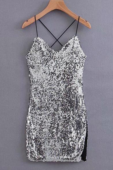 New Fashion Silver Sexy V-Neck Split Side Mini Night Club Sequined Cami Dress for Women