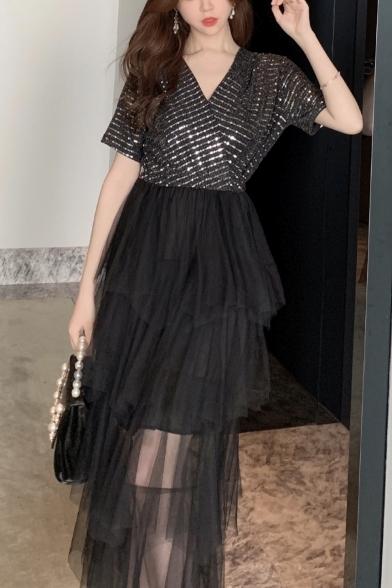New Stylish V-Neck Short Sleeve Sequined Layered Mesh Patch Plain Midi T-Shirt Black Dress