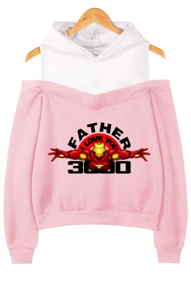 Popular Iron Figure Letter FATHER I LOVE YOU 3000 Cold Shoulder Pullover Casual Hoodie