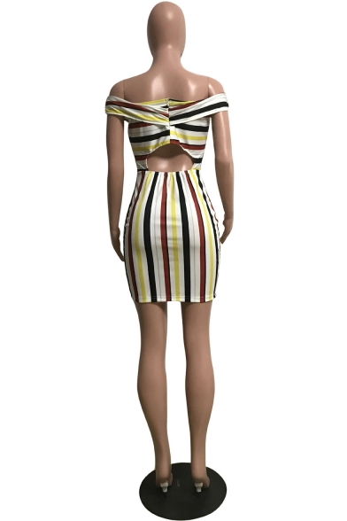 Sexy Off Shoulder Colorblock Striped Printed Bow Tie Patchwork Cut Out Back Mini Bodycon Dress