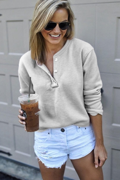 Simple Plain Button Front Gray Long Sleeve Casual Sweatshirt