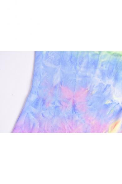 Summer Fashion Colorful Tie Dye Spaghetti Straps Mini Bodycon Cami Dress for Women