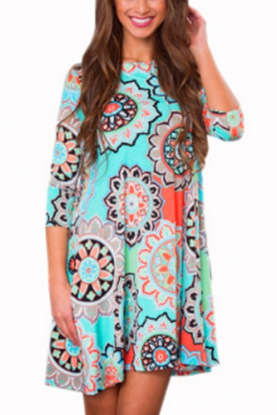 Summer Fashion Ethnic Style Tribal Printed Round Neck Three-Quarter Sleeve Mini Swing Dress