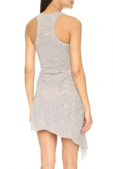 Summer Fashion Simple Plain Round Neck Sleeveless Split Side Ruched A-Line Asymmetrical Tank Dress