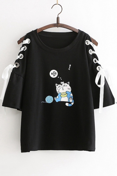 Summer Girls Cute Cartoon Cat Print Hollow Lace-Up Sleeve Casual Loose T-Shirt
