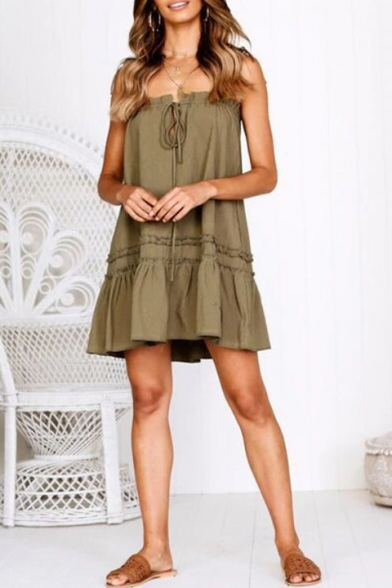Summer New Stylish Basic Solid Color Tied V-Neck Bow-Tied Strap Mini Ruffle Cami Dress