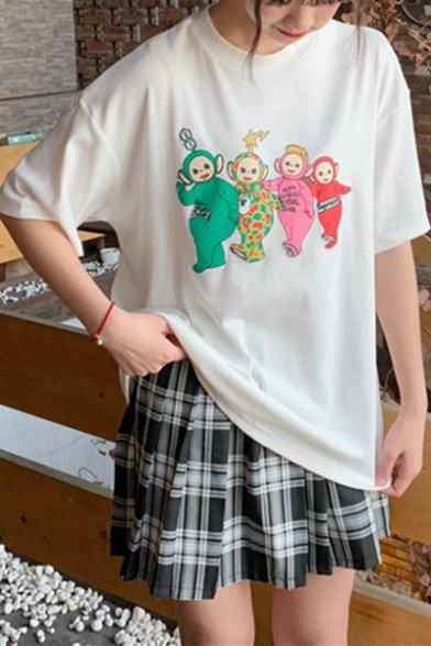 Teletubbies Cartoon Figure Pattern Round Neck Short Sleeve Casual Tee