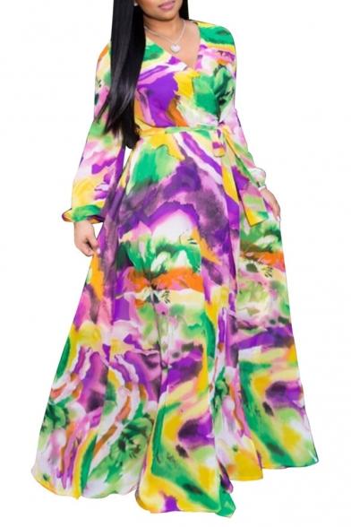 Women Hot Sale V-Neck Long Sleeve Tie-dye Printed Bow-Tied Waist Maxi A-Line Chiffon Dress