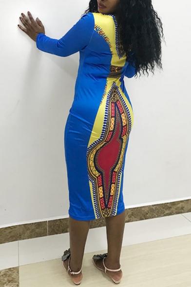 Women's Colorblock Tribal Printed V Neck Long Sleeve Midi Blue Bodycon Dress