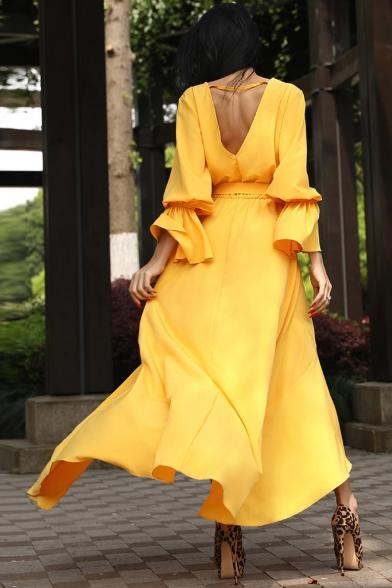 Women's Elegant Plunge Neck Long Sleeve Plain V-Back Bow-Tied Waist Maxi Asymmetric Yellow Dress