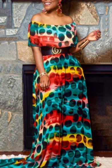 Women's Hot Fashion Off The Shoulder Colorblock Polka Dot Printed Belted Length Floor Blue Swing Dress