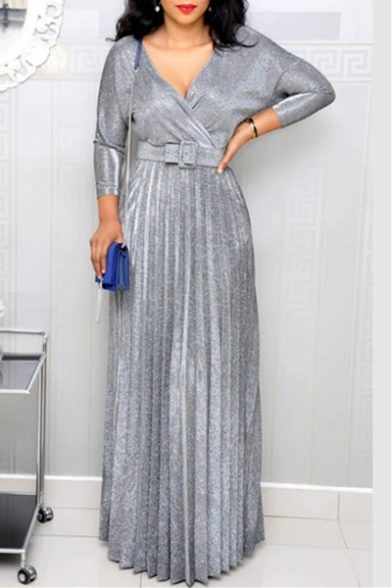 Women's Sexy Plunge Neck Long Sleeve Printed Belt Maxi Pleated Dress