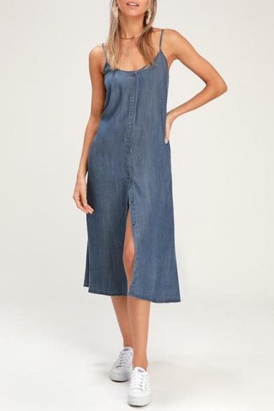 Women's Style Bow Backless Spaghetti Strap Sleeveless Plain Button-Front Midi Cami Denim Dress