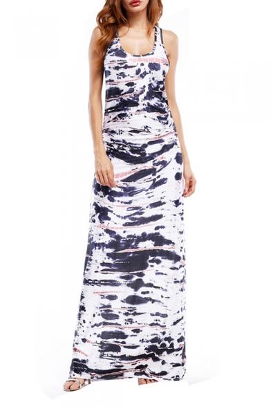 Women's Trendy Scoop Neck Sleeveless Printed Racerback Maxi Tank White Dress