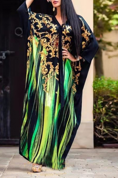 Women's Unique V-Neck Long Sleeve Tribal Printed Maxi Kaftan Black Dress