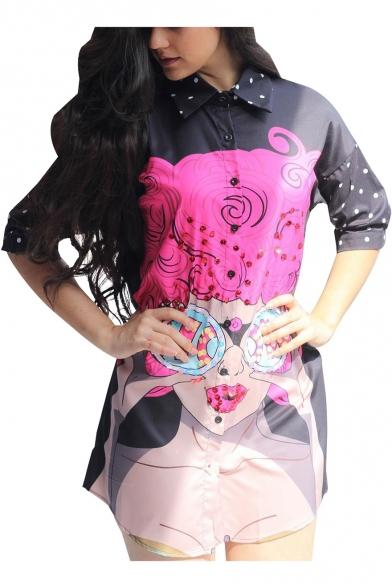 Womens Cool Street Style Comic Girl Printed Button Down Mini Shirt Dress