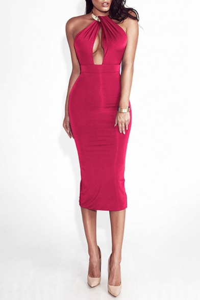 Womens Trendy Halter Neck Sleeveless Open Back Cutout Front Midi Bodycon Nightclub Dress
