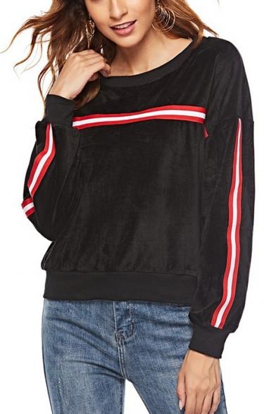 Black Round Neck Long Sleeve Tape Detail Pleuche Sweatshirt