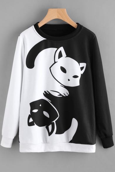 Cartoon Cat Print Black and White Colorblock Round Neck Long Sleeve Pullover Sweatshirt