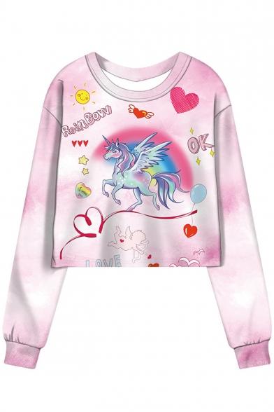 Cartoon Unicorn Heart Sun Printed RAINBOW Letter Pink Tie Dye Round Neck Long Sleeve Cropped Sweatshirt