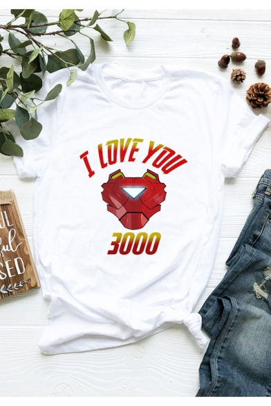 Cool Iron Letter I LOVE YOU 3000 Graphic Print Short Sleeve White T-Shirt