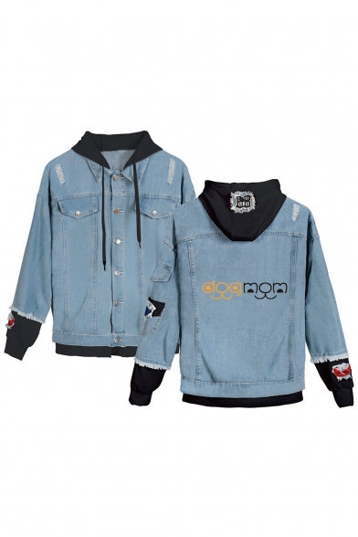 Cool Letter DOG MOM Fashion Ripped Patched Hood Long Sleeve Button Down Blue Denim Jacket