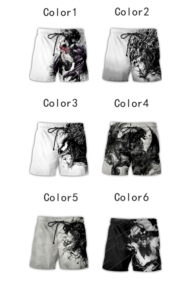 Cool Pattern Drawcord Waist Loose Fit Sport Athletic Beach Shorts for Men