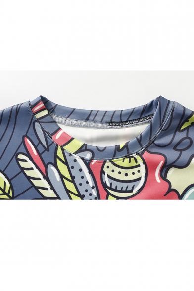 Cute Cartoon Bear Printed Basic Long Sleeve Blue Relaxed Fit Sweatshirt