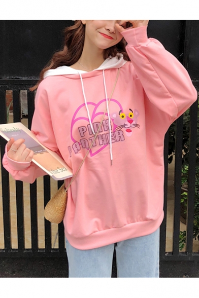 Cute Cartoon Pink Panther Print Basic Long Sleeve Loose Casual Hoodie for Girls
