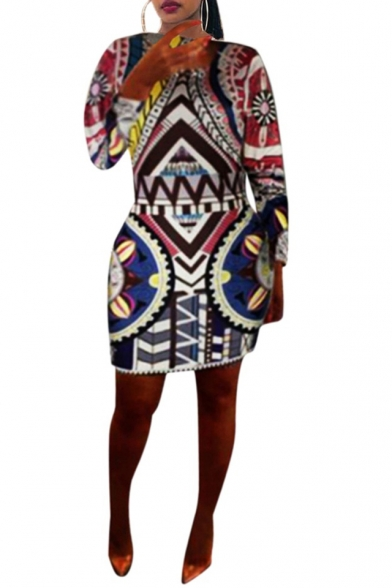 Fashion Colorful Tribal Printed Round Neck Long Sleeve Oversized Bodycon Mini Dress