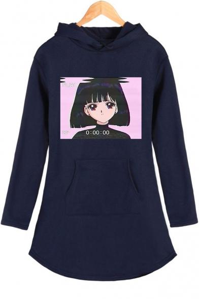 Fashion Vaporwave Comic Girl Printed Long Sleeve Mini Casual Hoodie Dress