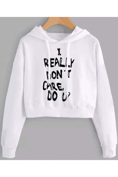 Funny Letter I REALLY DON'T CARE Print Loose Fit Long Sleeve Cropped White Hoodie