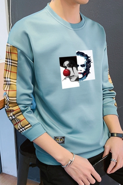 Guys New Fashion Plaid Patched Long Sleeve Clown Print Casual Loose Sweatshirt