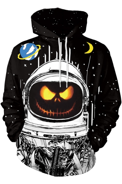 Halloween Cartoon Galaxy Moon Pumpkin Pattern Long Sleeve Black Hoodie