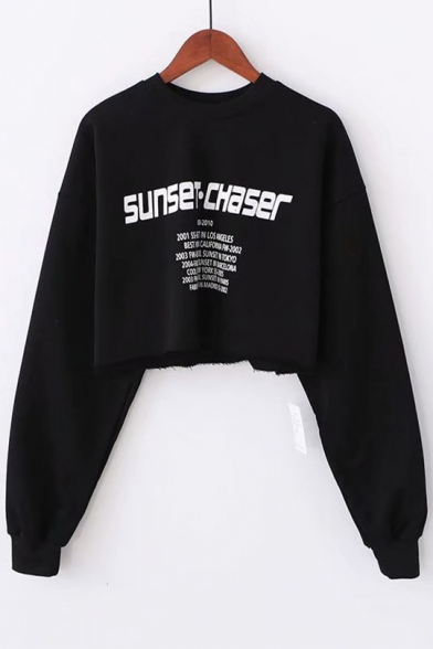 Hip Hop SUNSET CHASER Letter Print Round Neck Long Sleeve Cotton Cropped Sweatshirt