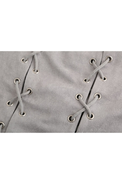Hot Popular Halterneck Sleeveless Sexy Cutout Plain Mini Suede Bodycon Dress
